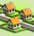 Three houses in neighborhood on white illustration Royalty Free Stock Photography