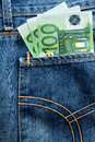 Three hundred euro banknotes pocket jeans Royalty Free Stock Photography