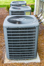 Three hvac units air conditioning for residential apartments Royalty Free Stock Photos