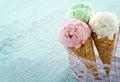 Three ice cream cones Royalty Free Stock Photo