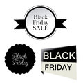 Three icon for black friday different with text Royalty Free Stock Photo