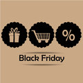 Three icons for black friday brown silhouettes with text Royalty Free Stock Image