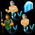 Three images of the triton and the ice gate vector illustration Stock Photo