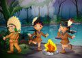 Three indian kids inside the forest ilustration of Stock Image