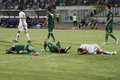 Three injured players during the romanian league relegation play off between rapid bucharest and concordia chiajna rapid won after Stock Photo