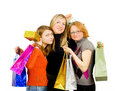 Three isolated girls out for shopping Stock Photos