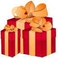 Three isolated red gift boxes with yellow ribbon