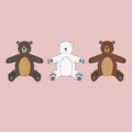 Three isolated teddy bears toys