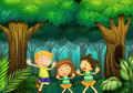 Three kids dancing in the forest Royalty Free Stock Photo
