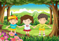 Three kids at the forest illustration of Stock Photos