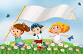 Three kids at the hilltop running with an empty banner Royalty Free Stock Photo