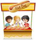 Three kids in a hotdog stand illustration of the on white background Stock Photography
