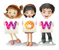 Three kids with letters illustration of the on a white background Stock Photography