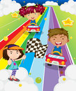 Three kids playing car racing illustration of the Stock Image