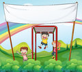 Three kids playing near the empty banner illustration of Royalty Free Stock Image