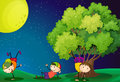 Three kids playing near tree under the fullmoon illustration of Stock Photo