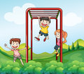 Three kids playing at the park illustration of Royalty Free Stock Photography
