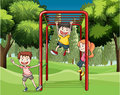 Three kids playing at the park illustration of Stock Images