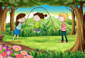 Three kids playing with a rope in the middle of the forest illustration Stock Photos