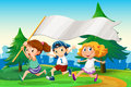 Three kids running with an empty flag banner Royalty Free Stock Photo