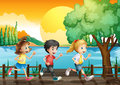 Three kids running at the port illustration of Royalty Free Stock Photo