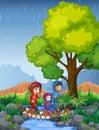 Three kids running in rain