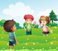Three kids at the top of the hills illustration Stock Images
