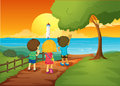 Three kids watching the lighthouse illustration of Royalty Free Stock Photography