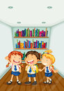 Three kids wearing their school uniforms illustration of the Stock Photo