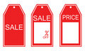 Three kind of red sale tags Royalty Free Stock Photo