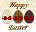 Three kinds of chocolate easter eggs vector illustration Royalty Free Stock Image