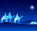 The Three Kings Riding with Camels in the Desert Royalty Free Stock Photo