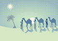 Three kings traveling with camels light blue and green illustration of the through the desert towards a shining star Stock Photography