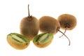 Three kiwi fruits and sliced one kiwi isolated on white background Royalty Free Stock Photos