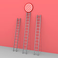Three ladders but only one leads to success d the bigger the target Royalty Free Stock Image