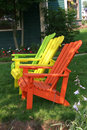 Three Lawn Chairs Royalty Free Stock Image