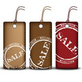 Three leather price tags Stock Image