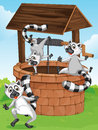 Three lemurs at the man made well illustration of Stock Image