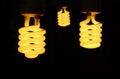 Three light bulb turn on with black. Royalty Free Stock Photo