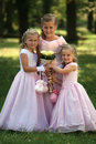 Three little cute bridesmaids Royalty Free Stock Photo