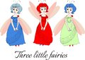 Three little fairies. Cute illustration with beautiful girls. Royalty Free Stock Photo