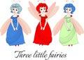 Three little fairies. Cute illustration with beautiful girls. Royalty Free Stock Photo