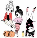 Three little girls graphic design for kid clothing