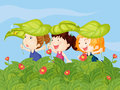 Three little kids playing in the garden illustration of Stock Photos