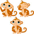 Three little monkeys Royalty Free Stock Photo