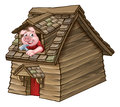 Three Little Pigs Fairy Tale Wood House Royalty Free Stock Photo