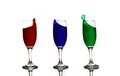 Three long glass color splash shot glasses with effect Stock Image