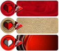 Three love banners set of romantic with floral texture stylized heart and red arrow Stock Images