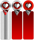 Three love banners set of romantic with stylized heart and arrow Royalty Free Stock Photography