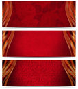 Three luxury banners set of or headers with red floral texture and blurred waves Royalty Free Stock Image